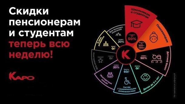 Скидки на билеты в «КАРО»: 7 дней в неделю  для школьников, студентов и пенсионеров будут действовать специальные цены на сеансы