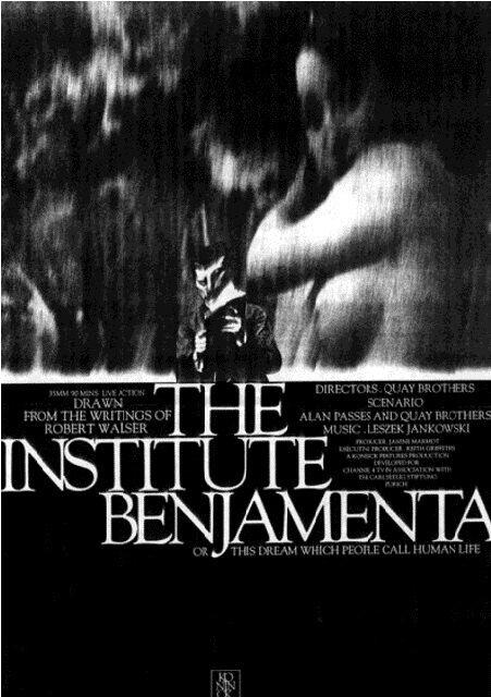 Институт Бенджамента, или Этот сон люди называют человеческой жизнью