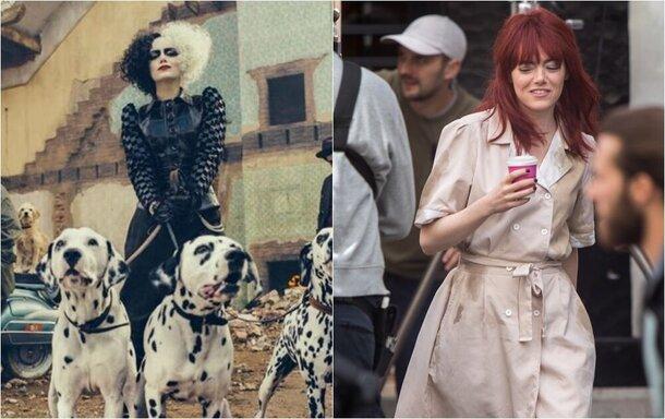 Первые фото: Эмма Стоун на съемках «Круэллы» в Лондоне