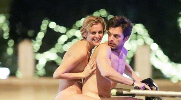 Себастиан Стэн разъезжает голым на мопеде на съемках трагикомедии «Понедельник»