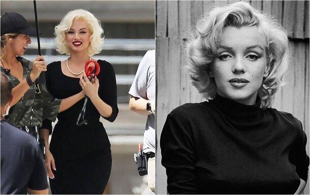 Невероятное сходство: Ана де Армас в образе Мэрилин Монро на съемках байопика «Блондинка»