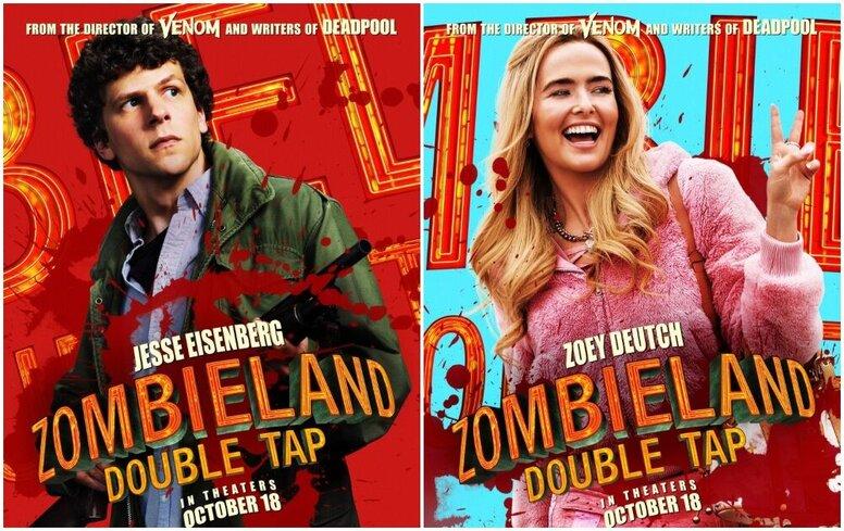 Эмма Стоун, Джесси Айзенберг, Вуди Харрельсон и звездные новички на персонажных постерах «Зомбиленд: Контрольный выстрел»